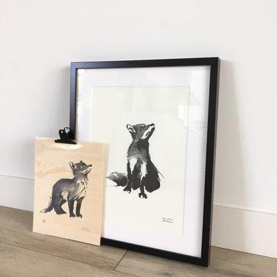 Teemu Järvi  Fox cub - plywood poster  - Fins design - 24x30cm