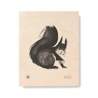 Teemu Järvi  Squirrel plywood poster 24x30cm