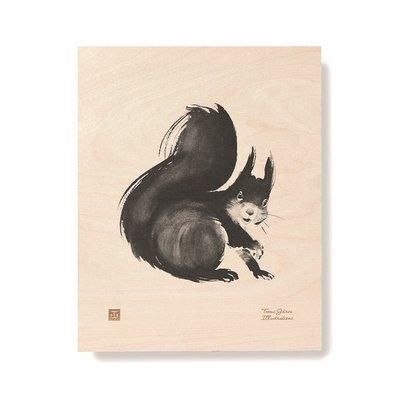 Teemu Järvi  Squirrel plywood poster 24x30cm - uniek Fins design