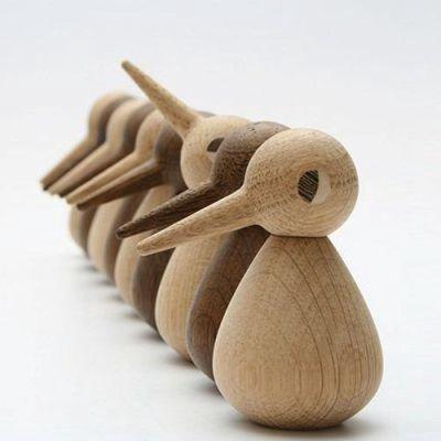 Architectmade Bird large H12cm naturel oak handmade Deens design