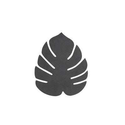 Lind DNA  Onderzetter set Monstera Leaf Nupo Zwart 14x12cm - duurzaam Deens design