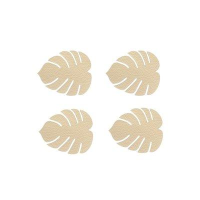 Lind DNA  Leren onderzetter set Monstera Leaf Hippo Gold 14x12cm