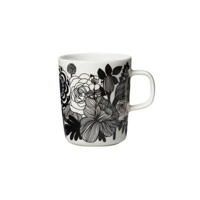 Marimekko Siirtolapuutarha mok 2,5dl bloemen zwart wit- Fins design