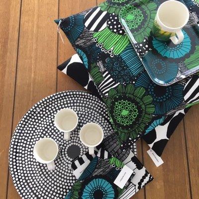 Marimekko Round Fokus tray Ø46cm zwart wit berken plywood- Fins design