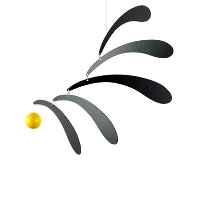 Flensted Mobiles Flowing Rhythm Yellow Black - 30x45cm - handmade Deens design