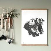 Teemu Järvi  Poster Roaring Bear 50x70cm - uniek Fins design