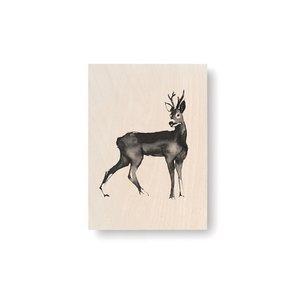 Teemu Järvi  Roedeer plywood artcard 10x15cm