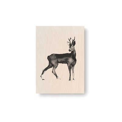 Teemu Järvi  Roedeer plywood artcard 10x15cm - Fins design