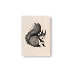 Teemu Järvi  Squirrel plywood artcard 10x15cm