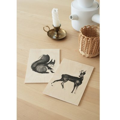 Teemu Järvi  Squirrel plywood artcard 10x15cm - Fins design