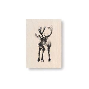 Teemu Järvi  Reindeer plywood artcard 10x15cm