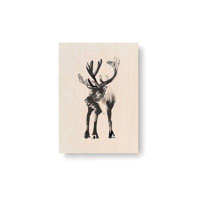 Teemu Järvi  Reindeer plywood artcard 10x15cm - made in Finland