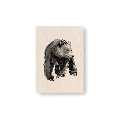 Teemu Järvi  Plywood artcard Gentle Bear 10x15cm - made in Finland