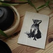 Teemu Järvi  Plywood artcard RED FOX 10x15cm - Fins design