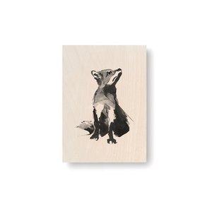 Teemu Järvi  Plywood artcard RED FOX 10x15cm