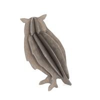 LOVI Uil grijs 9,5cm - 3D kaart hout