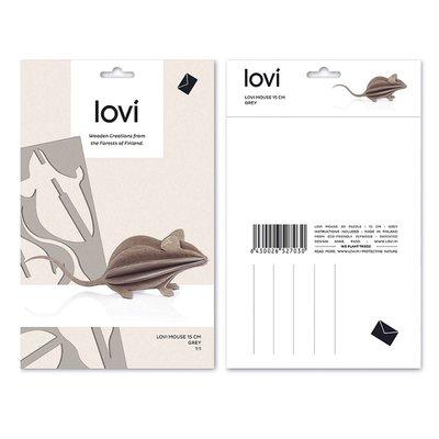 LOVI Muis grijs 15cm - 3D kaart hout- duurzaam Fins design
