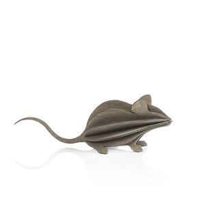 LOVI Muis grijs 15cm - 3D kaart hout