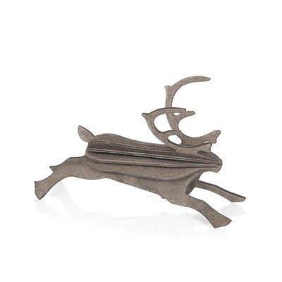 LOVI Rendier  grijs 12cm - 3D kaart hout - Duurzaam Fins design