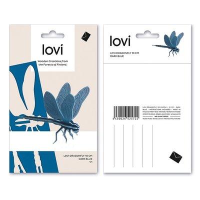 LOVI Libelle - Dragonfly blauw 10cm - 3D kaart hout