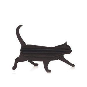 LOVI Kat zwart 12cm - 3D kaart hout