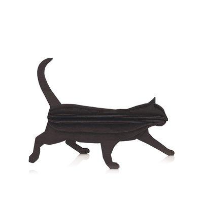 LOVI Kat zwart 12cm - 3D kaart hout - duurzaam Fins design