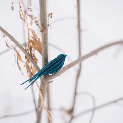 LOVI 3D kaart Zwaluw blauw 15cm - duurzaam Fins design