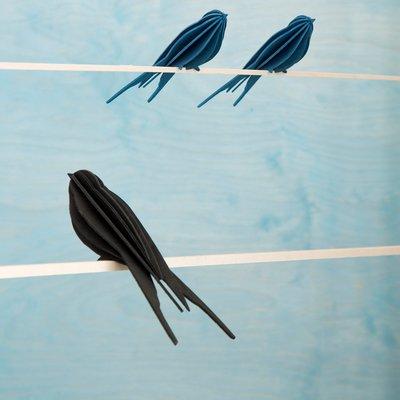 LOVI 3D kaart Zwaluw licht blauw 10cm  - duurzaam Fins design