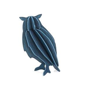 LOVI 3D kaart hout Uil blauw 9,5cm