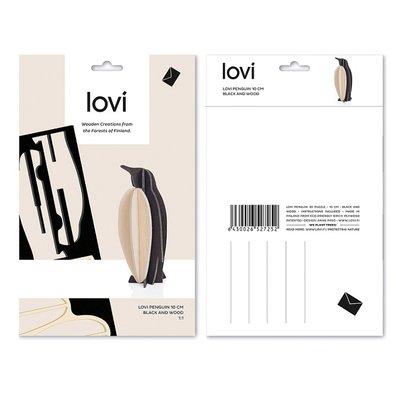 LOVI 3D kaart Pinguïn 10cm zwart/naturel - Fins design