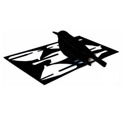 LOVI Bird zwart 12cm - 3D kaart hout - Fins design