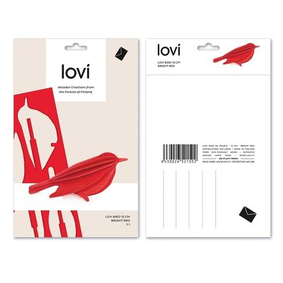 LOVI 3D kaart Bird rood 12cm  - made in Finland