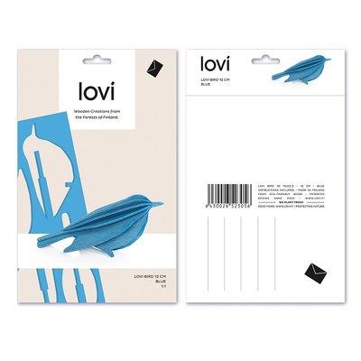 LOVI 3D kaart Bird blauw 12cm  - Fins design
