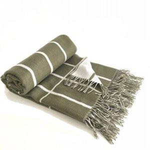 Marimekko Tilliskivi plaid wol vergrijsd groen