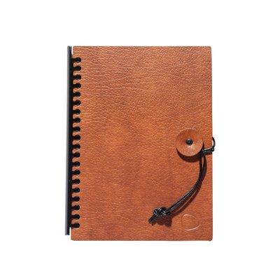 Lind DNA  Notebook - Paper Block Button A5 Cognac-Zwart