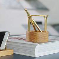 DOT Aarhus Pen-Up Oak / Brass Ø8xH9,2cm