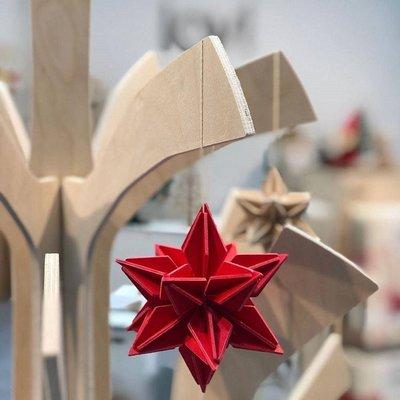 LOVI 3D Sterren set rood 7cm - duurzaam Fins design