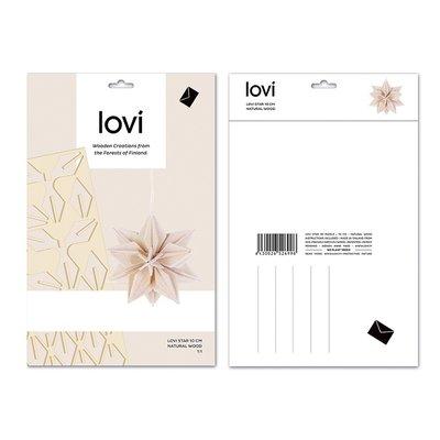 LOVI 3D card Sterren set naturel10cm - duurzaam