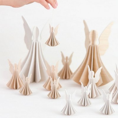 LOVI 3D card Angels set naturel 13cm - duurzaam