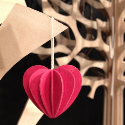 LOVI Hart hanger rood H6,8cm set-2dlg - duurzaam