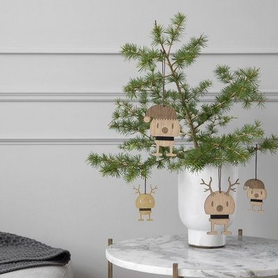 Hoptimist Reindeer hanger set H13,5cm met lederen ophangkoord