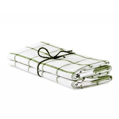 Axlings Theedoeken Köksruta Groen-Wit set van 2 - duurzaam linnen