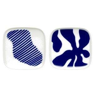 Marimekko Ruudut bordjes set blauw 10x10cm