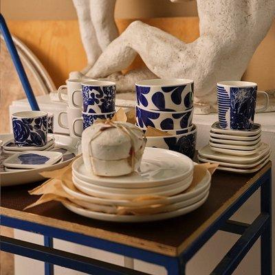 Marimekko Ruudut mini bordjes set blauw 10x10cm - Fins design