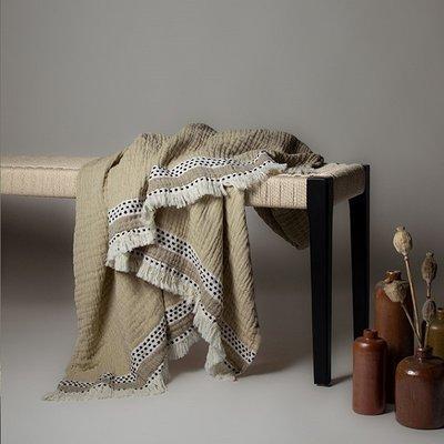 Lina Johansson Plaid Serene Beige  – katoen - 150x180cm