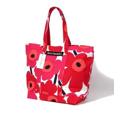 Marimekko Peruskassi Pieni Unikko rood shopper - Fins design