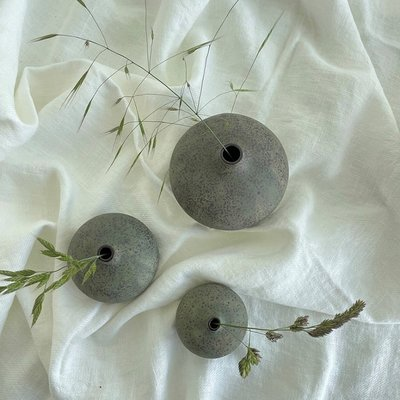 Lindform Vaasje Bari M Green melange H7,5cm - Handmade