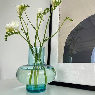 Marimekko Vaas Umpo Aqua H20cm - mond geblazen glas