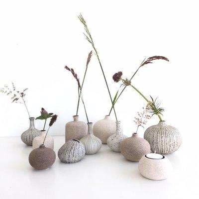 Lindform Vaasje  Athen Grey H10cm - handmade
