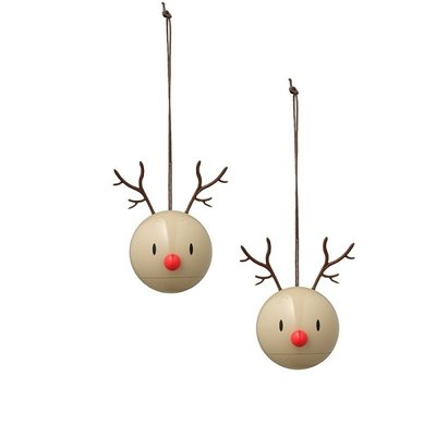 Hoptimist Reindeer hangers beige – 2pcs Ø6cm